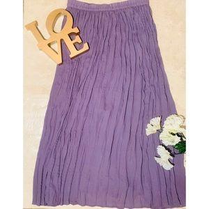 Lilac Sigrid Olsen Pleated Mid Length Skirt Sz L